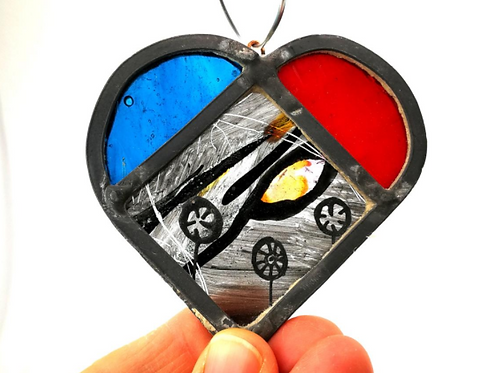 Painted stained glass heart - colourful suncatcher