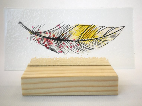 Amber, pink & white fused glass feather