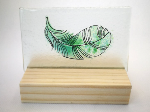 Green fused glass feather