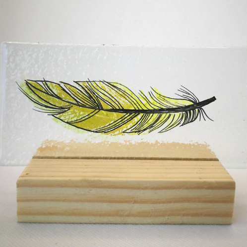 Yellow fused glass feather