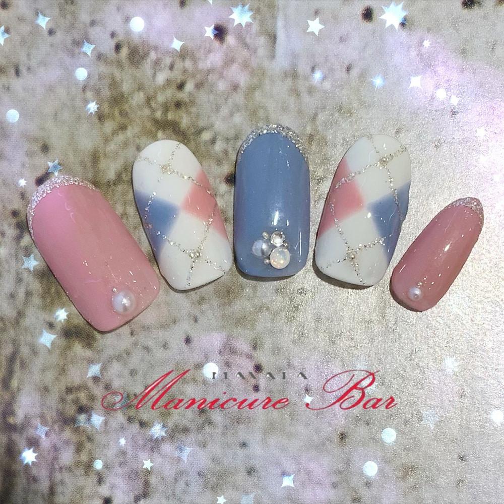 三軒茶屋店限定オリジナルカラー☆ピンク×ブルーのアーガイルネイル