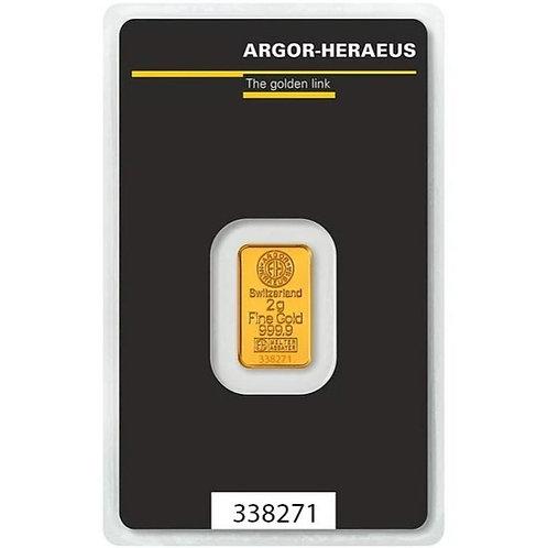 2 grama zlatna poluga - Argor Heraeus