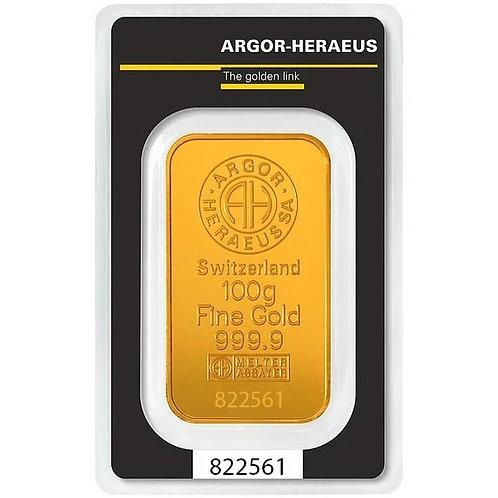 100 grama zlatna poluga - Argor Heraeus