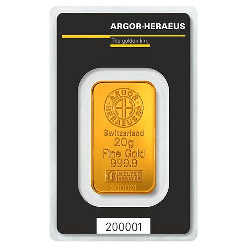20 grama zlatna poluga - Argor Heraeus