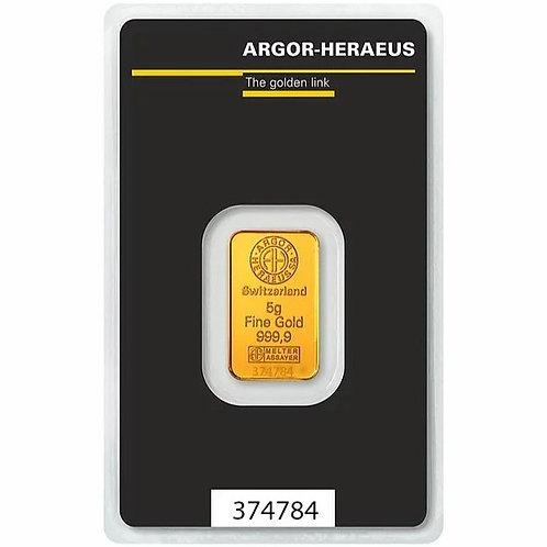 5 grama zlatna poluga - Argor Heraeus