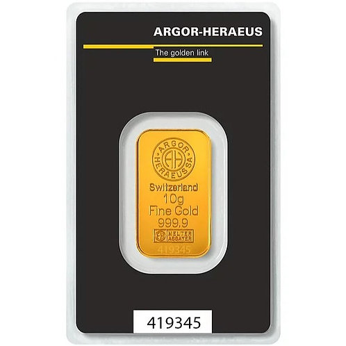 10 grama zlatna poluga - Argor Heraeus