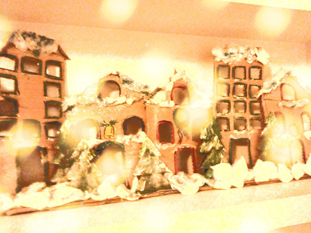Make a Christmas town scene from recycled materials