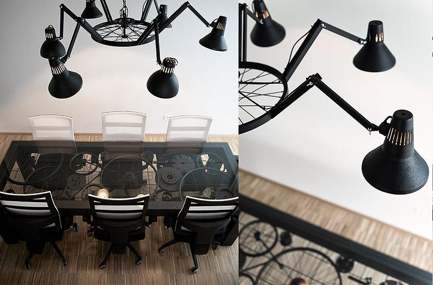 Trash design RCERO Snaga Ljubljana kovinska miza motorni deli lestenec iz namiznih luči