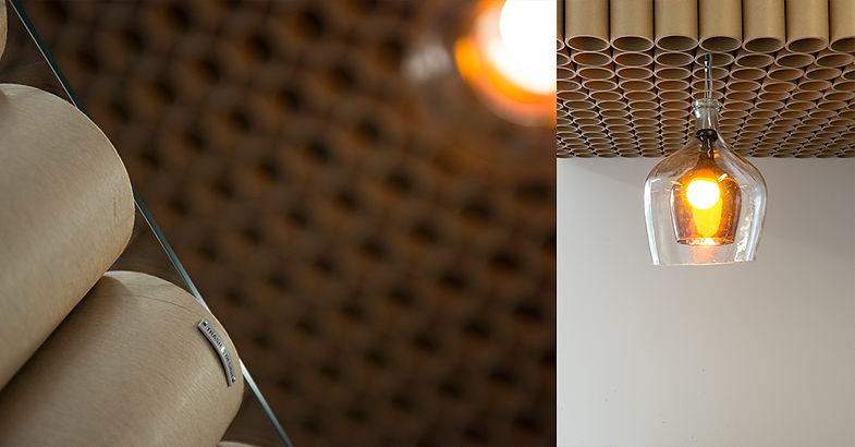 Trash Design RCERO Snaga Ljubljana sprejemnica papirnati tulci reciklaža upcycling steklene buče luč