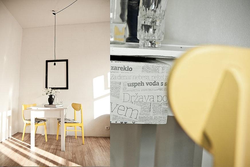 Trash Design vila lent jedilni kot prenova mize, stolov, okvir, reciklaža časopis