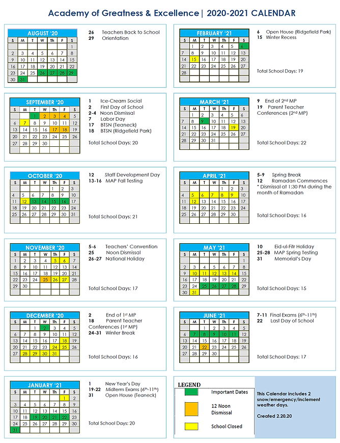 AGE 2020-2021 Academic Year Calendar 2.2