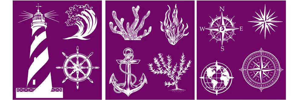 "Nautical - Silk Screen Stencils - 8"" X 10"""