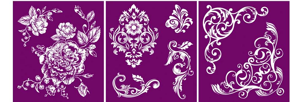 "Floral - Silk Screen Stencils - 8"" X 10"""