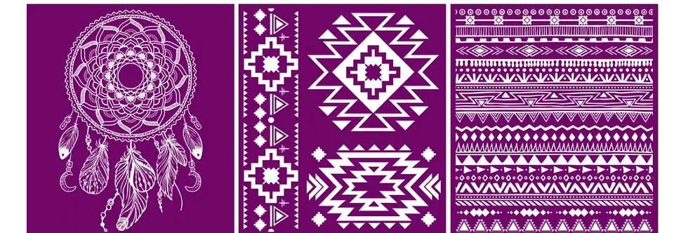 "Boho - Silk Screen Stencils - 8"" X 10"""