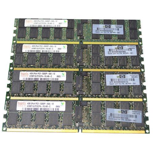 HP / Hynix 16GB(4x4GB) 2Rx4 PC2-5300P HYMP151P72CP4-Y5 ECC REG Memory