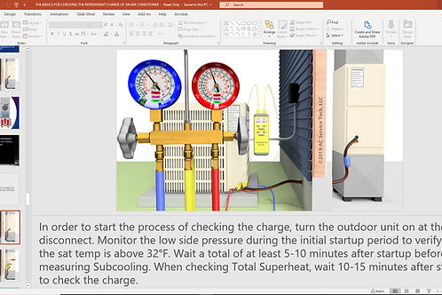 Basics for Checking the Refrigerant Charge of an Air Conditioner Presentation