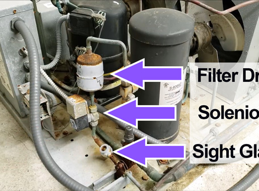 Filter Drier, Solenoid Valve and Liquid Line Sight Locations in a Refrigeration System