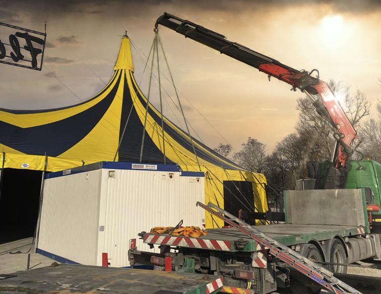 Container Kran LKW Spiegelzelt