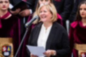 US Ambassador, Anne Hall, speaking at op
