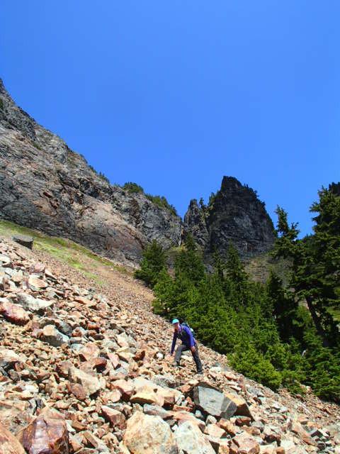 Dr Eon climbing Mt Thompson near Snoqualmie Pass