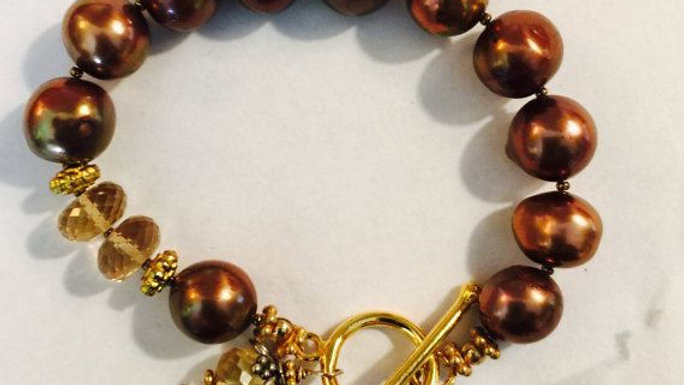 Dark brown pearl bracelet,faceted citrine accents,,8 in. long