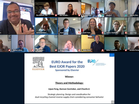 EURO Best paper award announcement