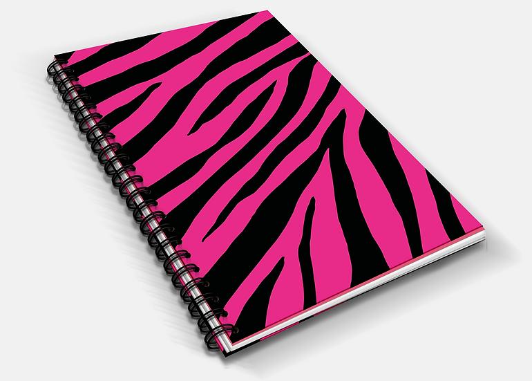 Vivid Zebra Print A5 Notebook   Plain or Lined