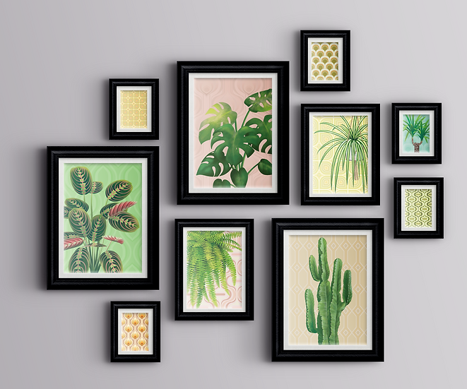 Large gallery wall comprised of ten wall art prints featuring house plants and retro inspired wallpaper