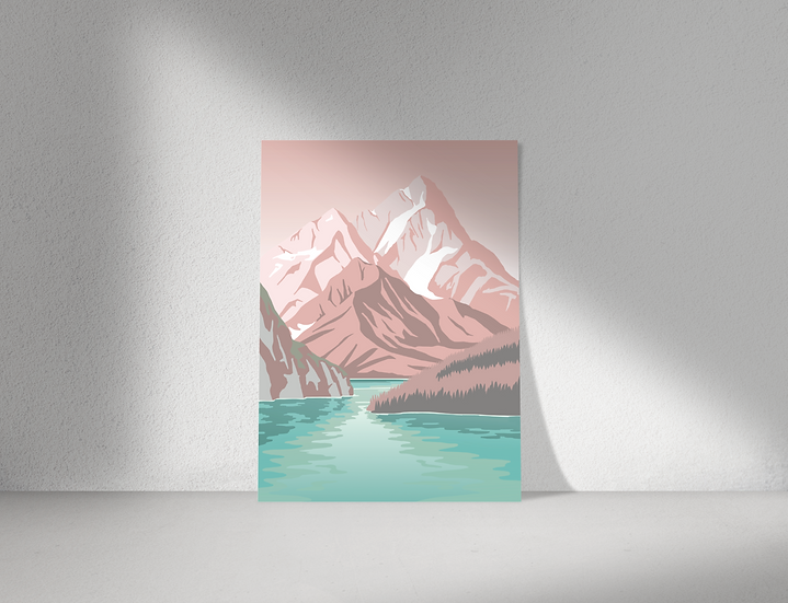 Mountain Lake Print | Great Escapes Range | Wall Art | A3 or A4 from £13.50