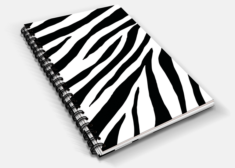 Zebra Print A5 Notebook   Plain or Lined