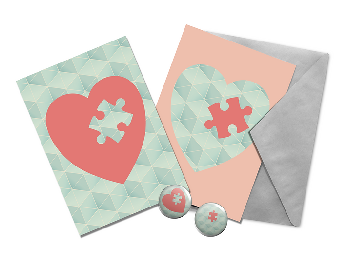 Piece of My Heart | Postcard and Badge Set | Valentines Gift