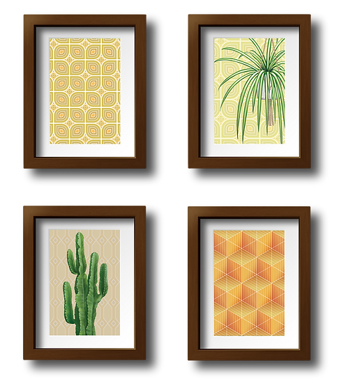 Gallery wall comprised of four framed mini prints depicting house plants and retro inspired wallpaper patterns