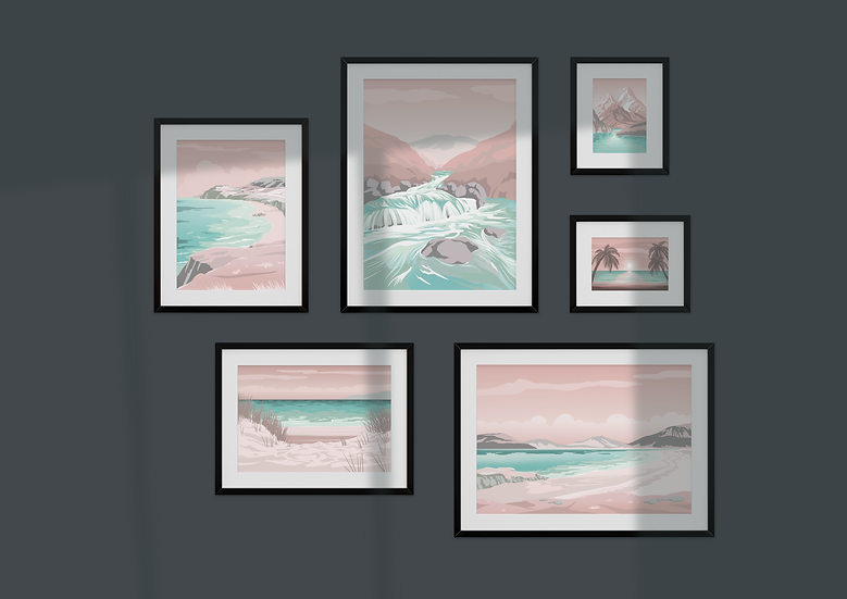 a gallery wall made from six wall prints from the great escapes range