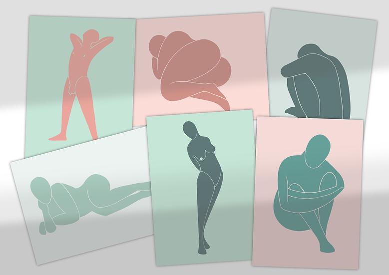 A6 Mini Prints | Abstract Figures | Postcards | Set of 6 Mini Prints