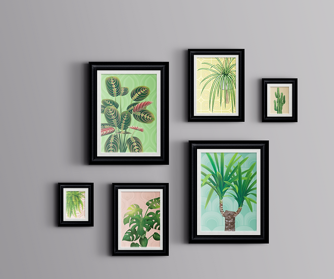 Gallery Wall Print Set   Just Plants   Mixed Sizes