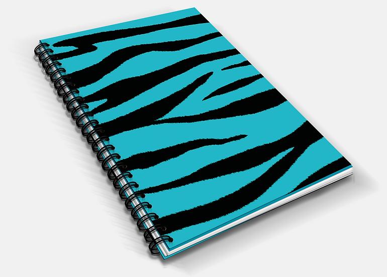 Aqua Tiger Print A5 Notebook | Plain or Lined