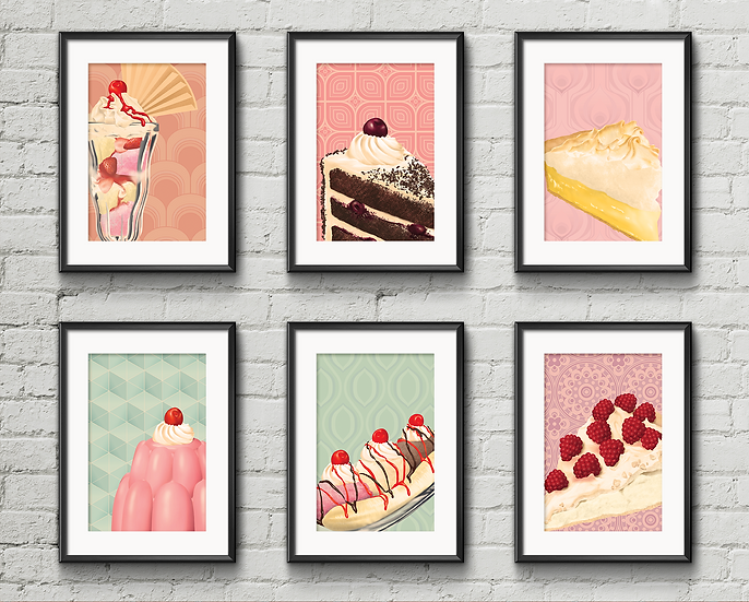 Gallery Wall Print Set | Retro Desserts  | A3 or A4