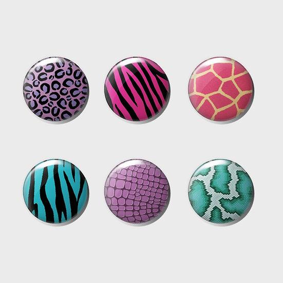 Vivid Animal Print Pin Badge Set   25mm   Set of 6