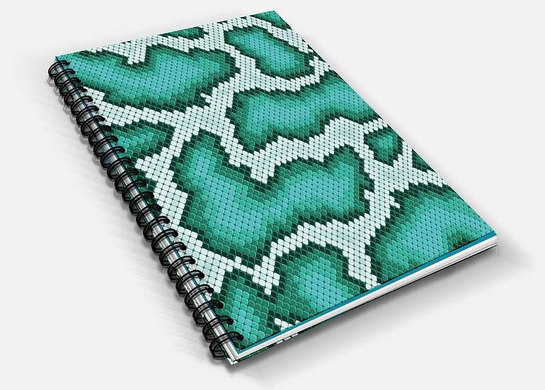 Turquoise Snake Skin Print A5 Notebook | Plain or Lined