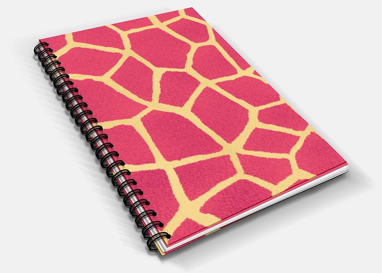 Pink Giraffe Print A5 Notebook | Plain or Lined