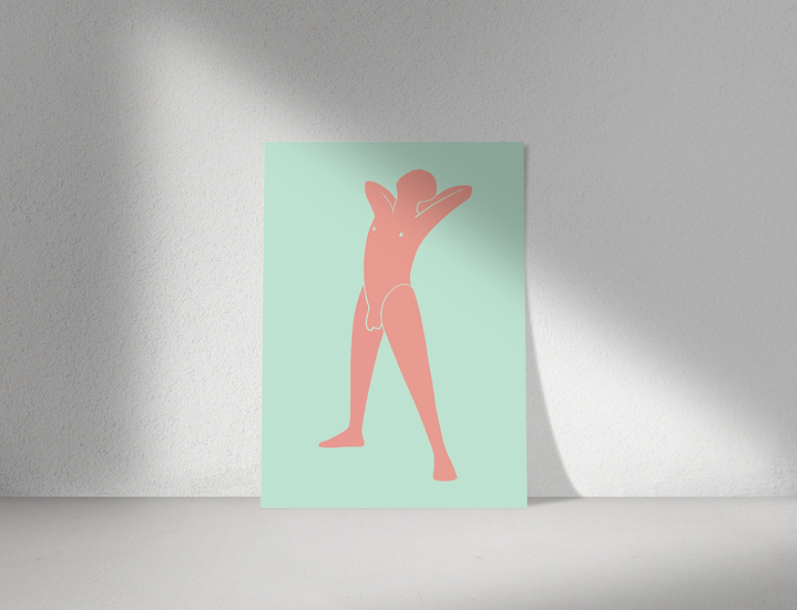 Stretch   Abstract Male Nude Wall Print   Figures Range   A3 or A4 from £13.50