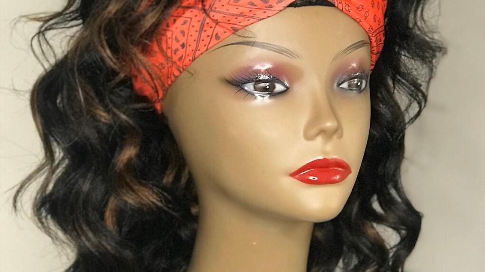 Headband wig cap with curls
