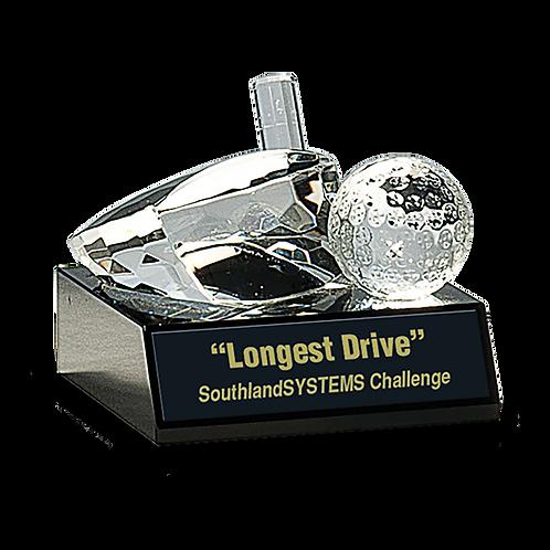 Crystal Golf Ball & Club Paperweight