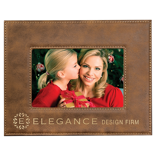 "4"" x 6"" Rustic & Gold Leatherette Photo Frame"