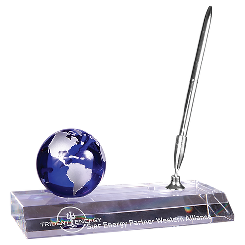 Blue Crystal Globe with Base & Pen