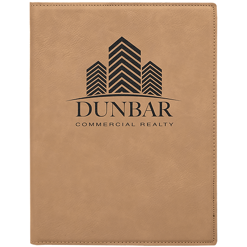 Light Brown Leatherette Portfolio with Notepad