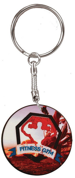2-Sided Round Plastic/Ceramic Composite Keychain