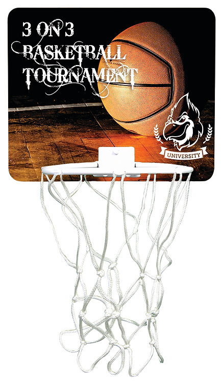 Gloss Hardboard Mini-Basketball Hoop with White Netting & Plastic Rim