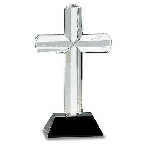 Clear Crystal Cross on Black Base