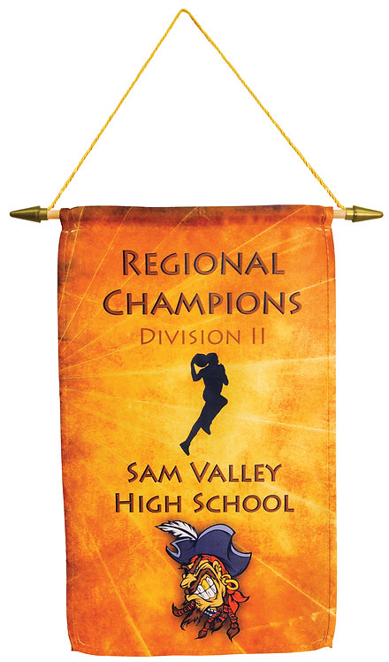 1-Sided Banner with Wooden Pole, Spear Tip & Cord